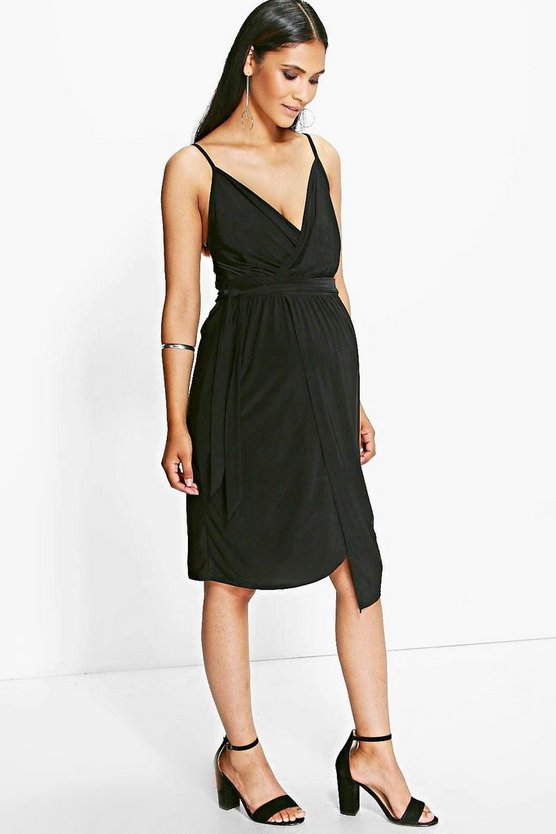 Maternity Sarah Wrap Front Tie Waist Slinky Dress