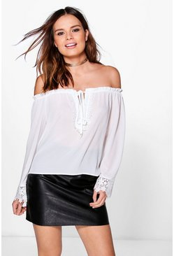 Rosie Bardot Lace Trim Top
