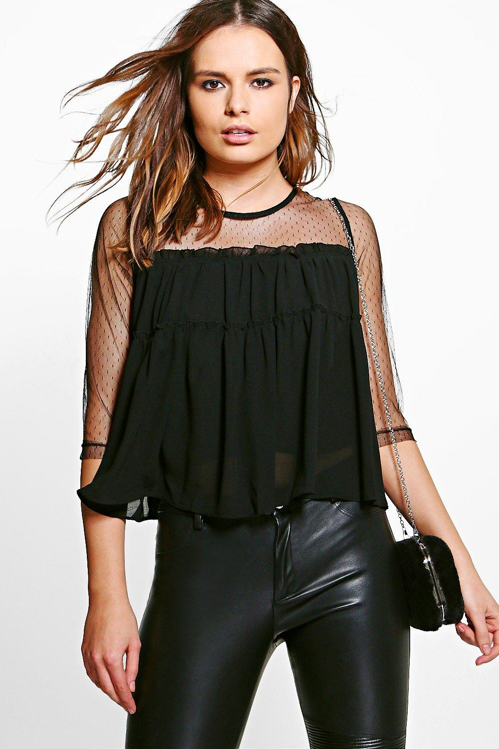 Nelly Mesh Insert Smock Top