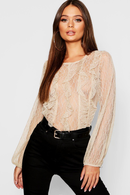 Купить Lace Long Sleeve Top, boohoo
