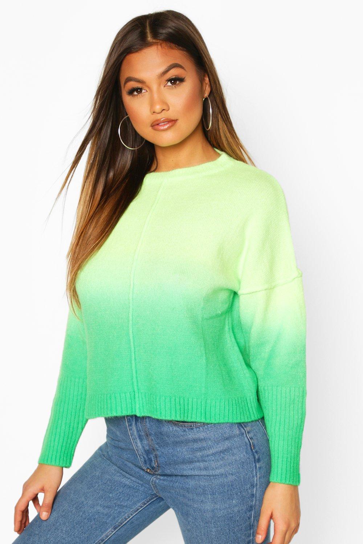 Womens Pullover Mit Farbverlauf - Grün - L, Grün - Boohoo.com