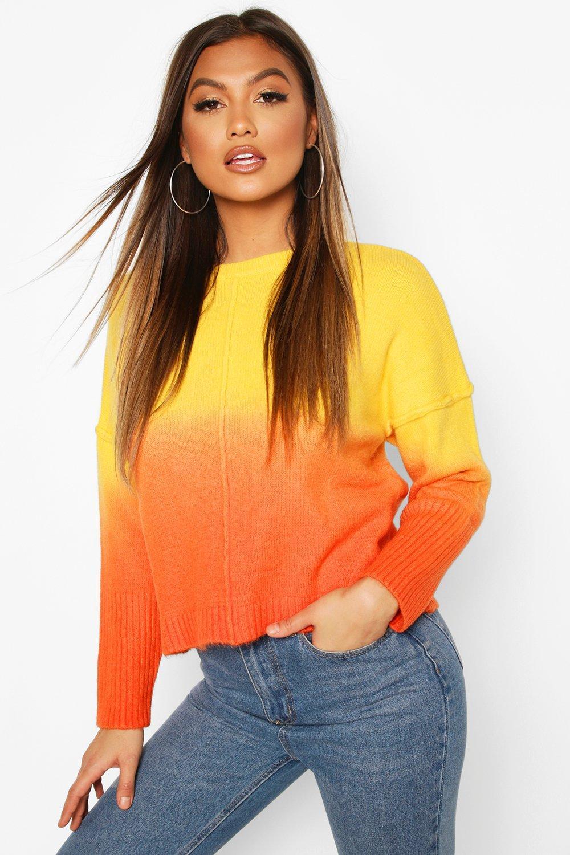 Womens Pullover Mit Farbverlauf - Orange - M, Orange - Boohoo.com