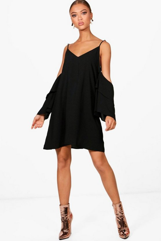 Sanna Frill Sleeve Open Shoulder Dress