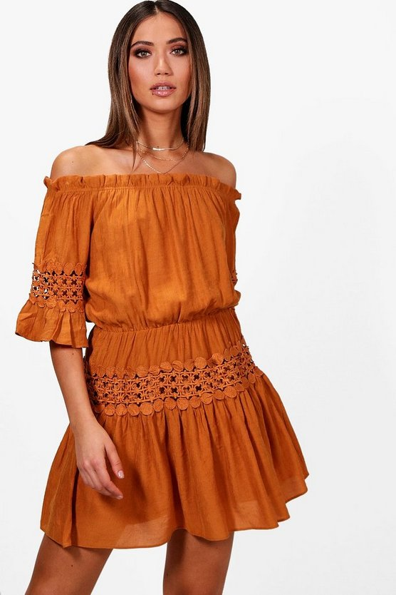 Eliza Off The Shoulder Crochet Smock Dress