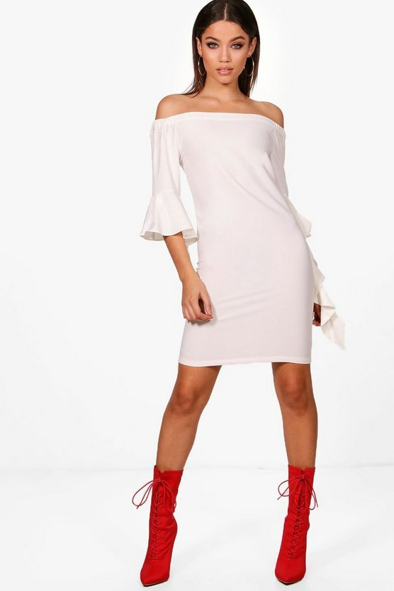Susie Ruffle Sleeve Off Shoulder Shift Dress