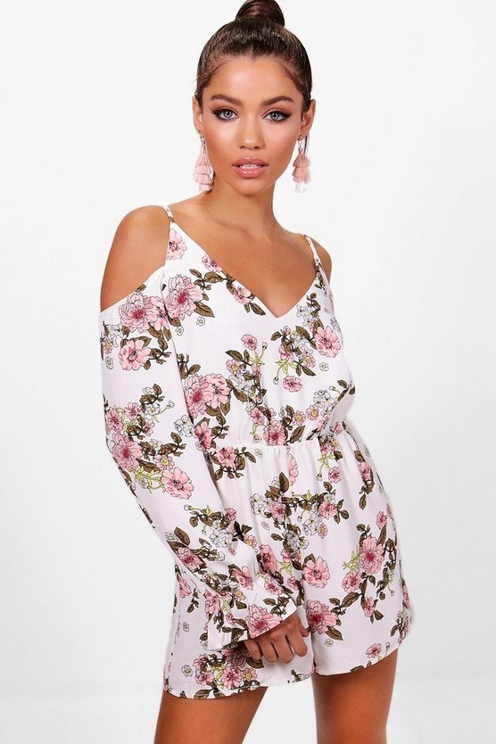 Hannah Floral Cold Shoulder Playsuit
