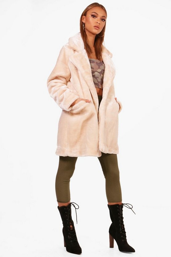 Lucy Collar Faux Fur Coat