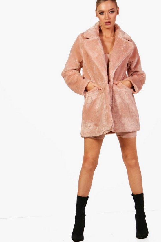 Amy Collar Faux Fur Coat