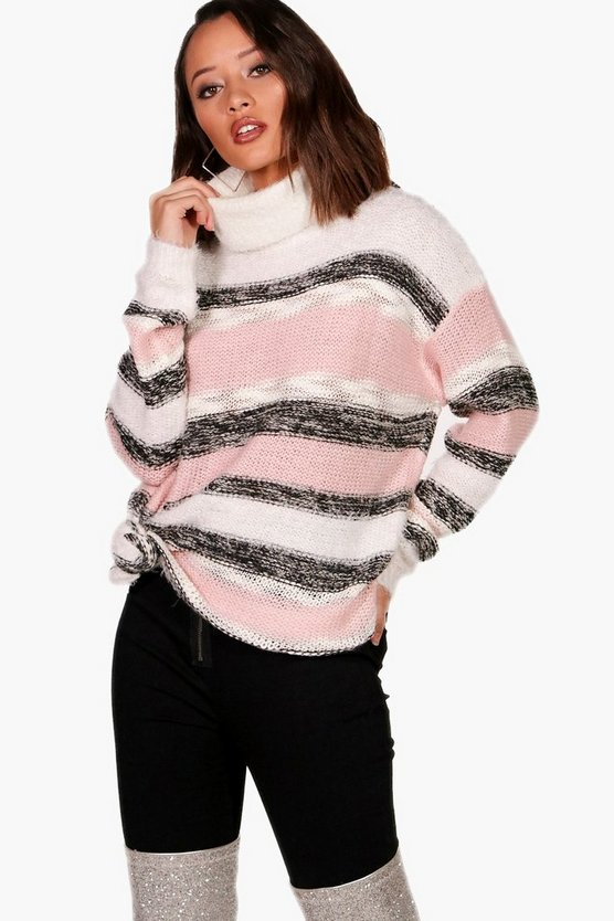 Sarah Stripe Fluffy Knitted Jumper