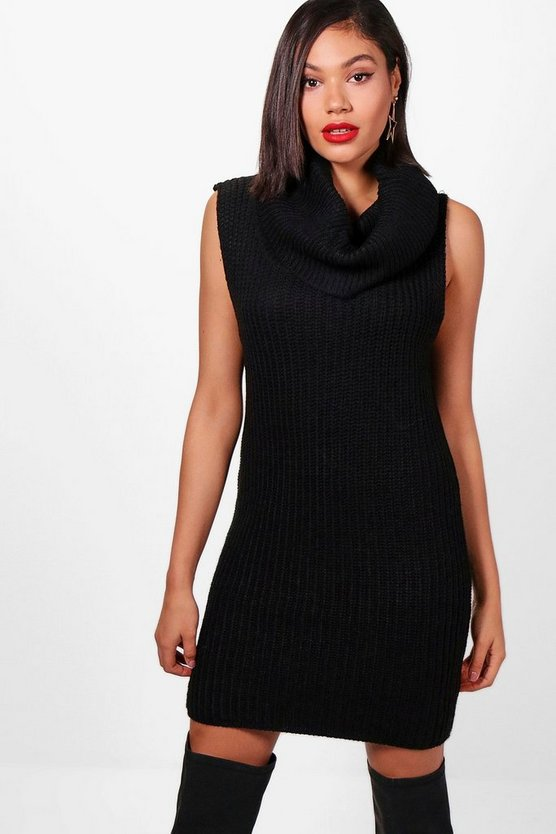 Heidi Sleeveless Knitted Roll Neck Dress