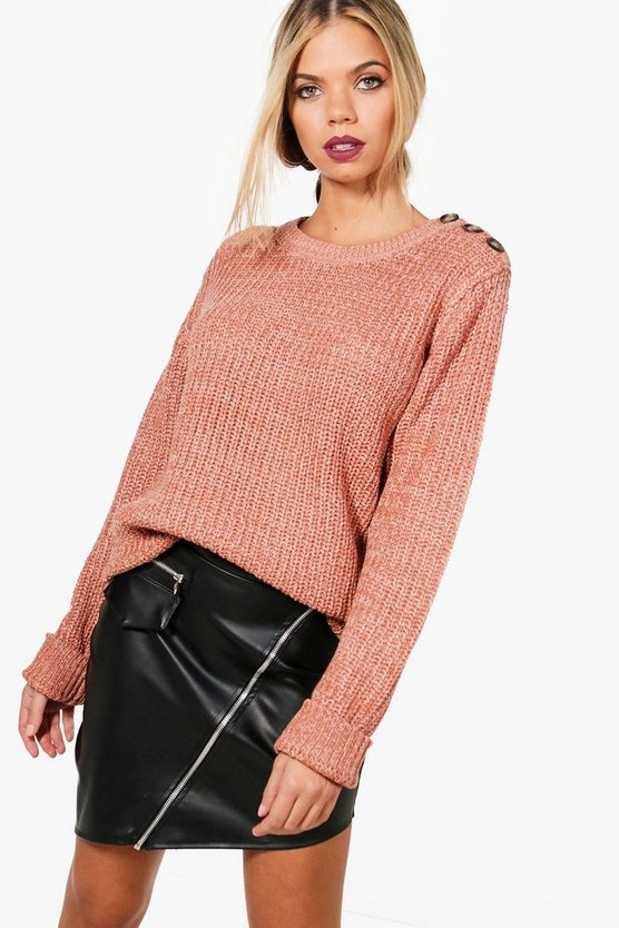 Megan Marl Knitted Button Detail Fisherman Jumper