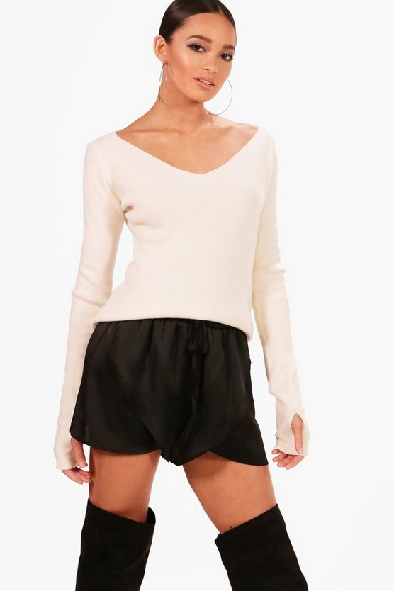 V Neck Soft Knit Thumbhole Jumper