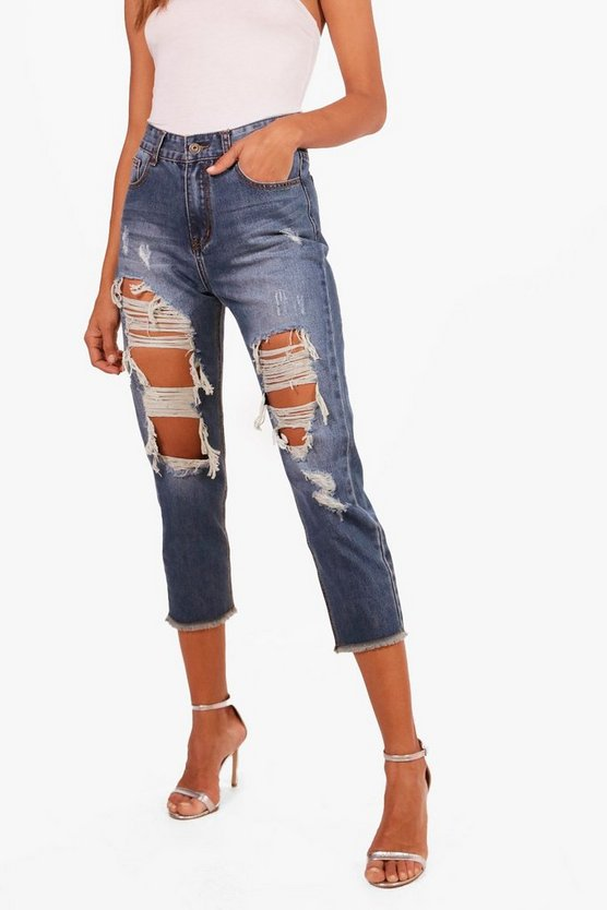 Lily Low Rise Distressed Boyfriend Jeans