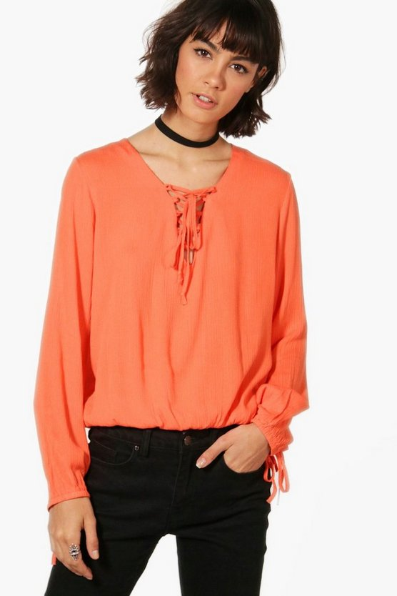 Annabel Lace Up Blouse