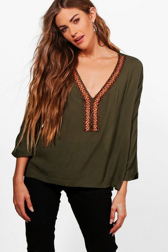 Daisy Embroidered Trim Top