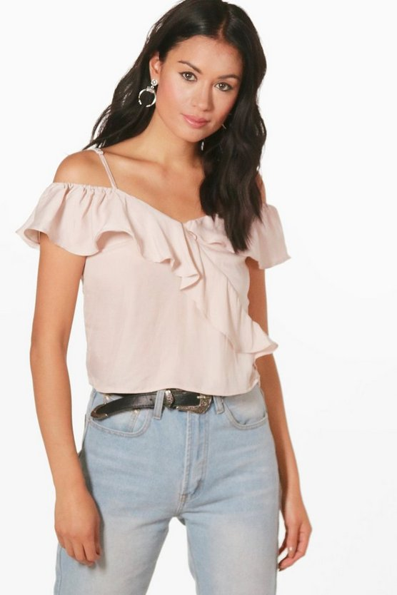 Amber Cold Shoulder Frill Crop
