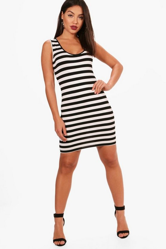 Katie Wide Stripe Sleeveless Bodycon Dress