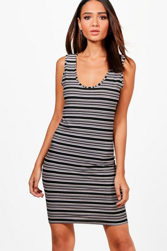 Julia Grey + Black Multi Stripe Bodycon Dress