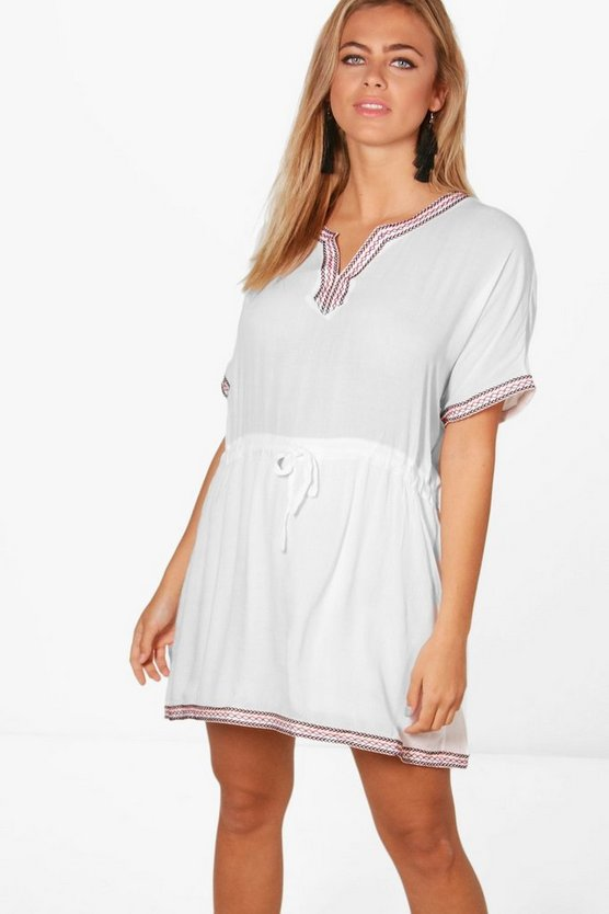 Sally Embroidered Tie Waist Smock Dress