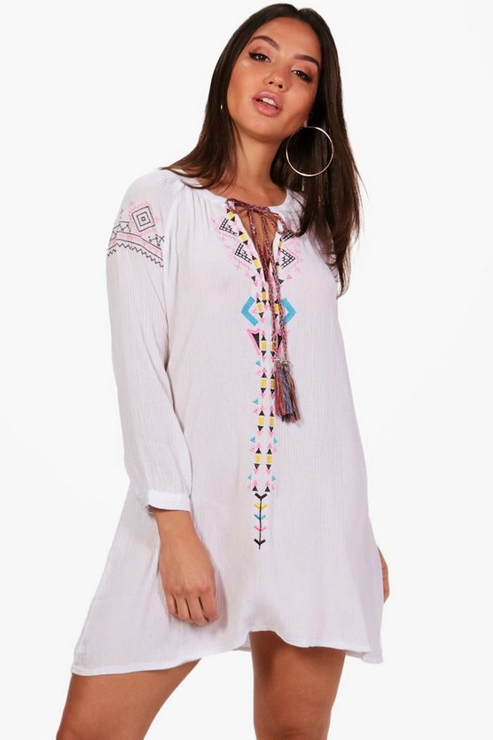 Mona Embroidered Smock Dress