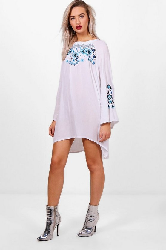 Maria Embroidered Smock Dress