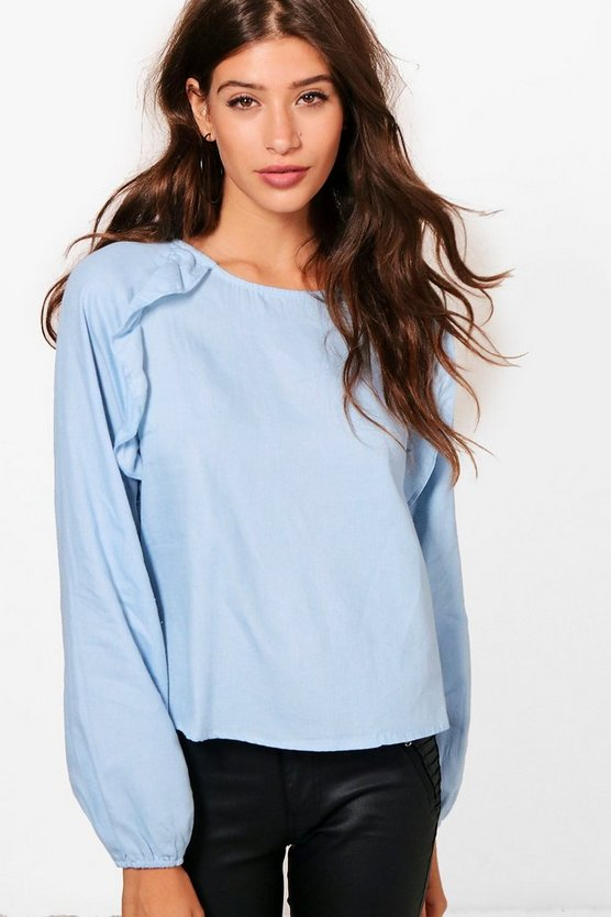 Lucy Long Sleeve Ruffle Front Chambray Top