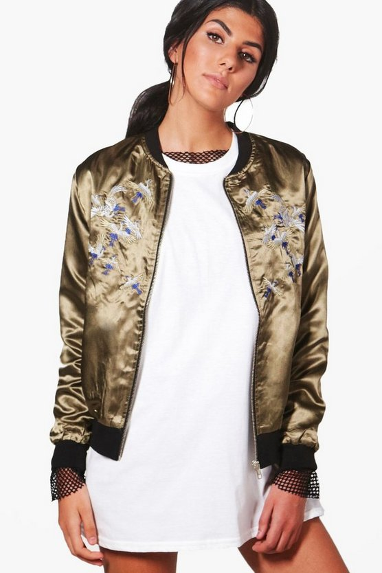 Jessica Bird Embroidered Bomber Jacket