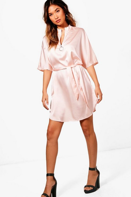 Satin O-Ring Pull Dress