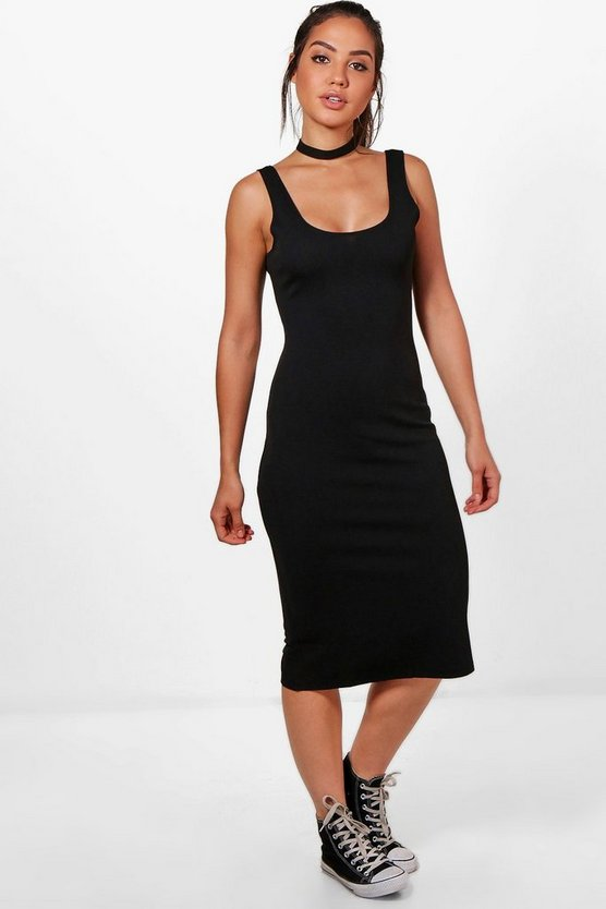 Tanya Waffle Bodycon Strappy Midi Dress