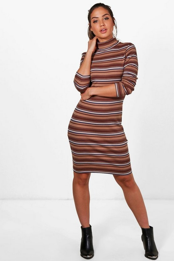 Anna High Neck Stripe Midi Dress