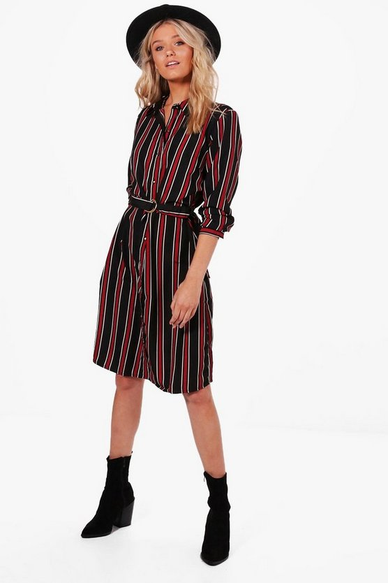 Tilly Stripe Buckle Shirt Dress