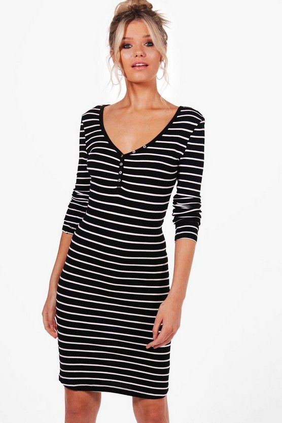 Laura Long Sleeve Stripe Bodycon Dress
