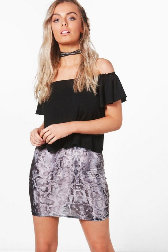 Petra Snake Print Mini Skirt