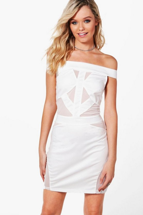 Millie Mesh Insert Off The Shoulder Bodycon Dress