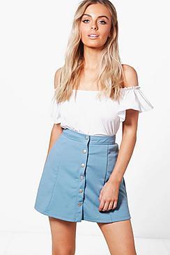 Retro Skirts: Vintage, Pencil, Circle, & Plus Sizes Hattie Button Front Ponte A Line Skirt $20.00 AT vintagedancer.com