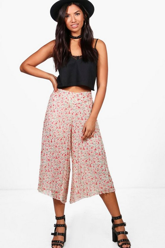 Maria Pleated Floral Woven Culottes