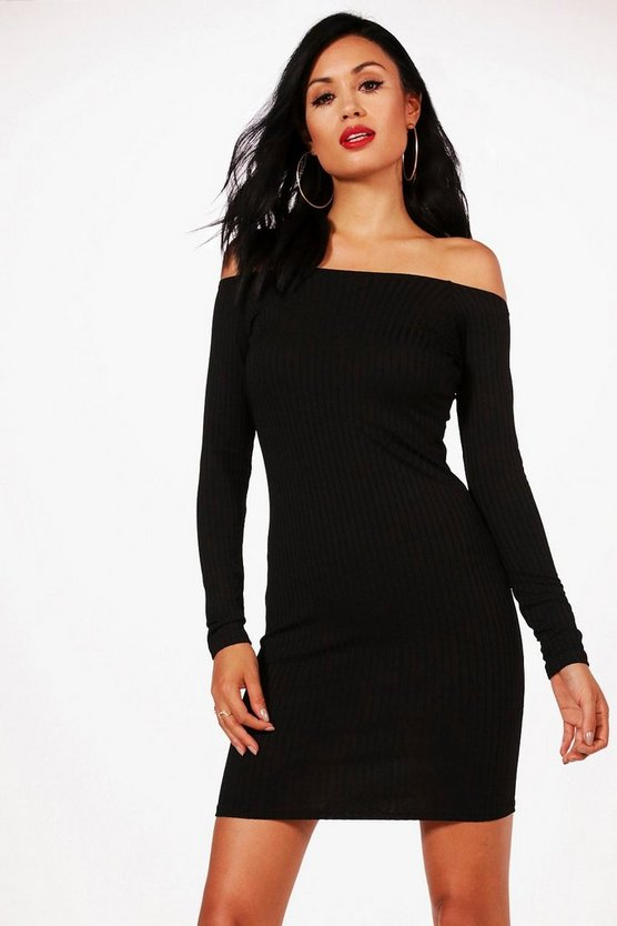 Heather Rib Knit Bardot Dress