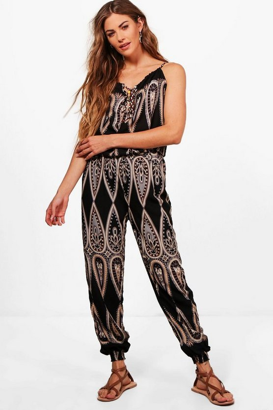 Henley Printed Strap Detail Jumpsuit