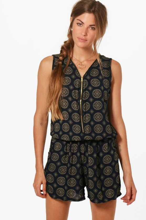 Cynthia Zip Front Printed Playsuit