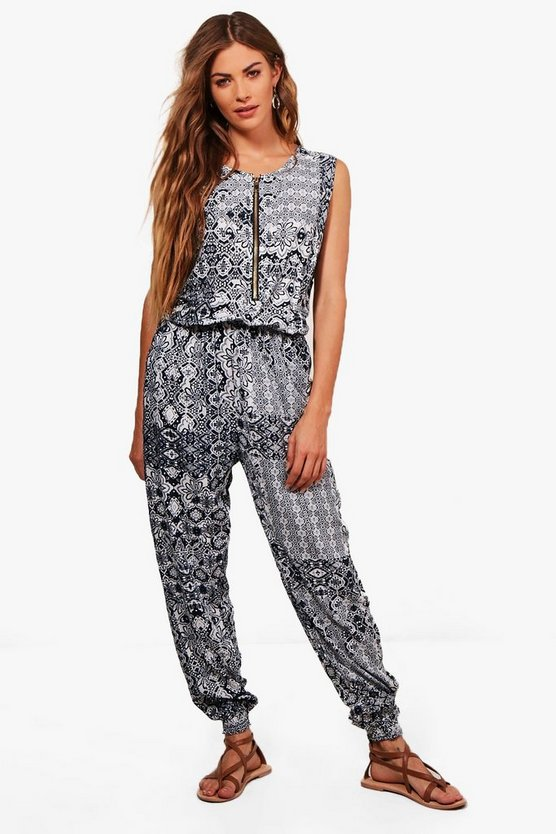 Kailey Zip Front Printed Jumpsuit