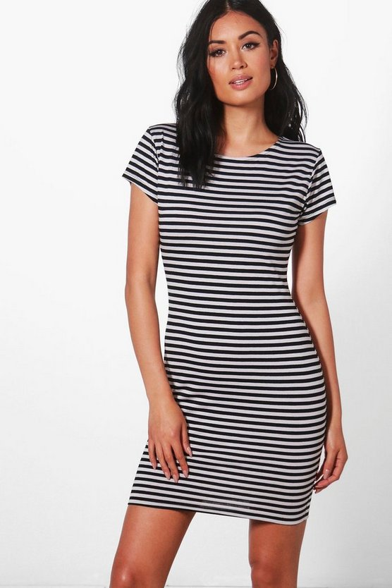 Anna Cap Sleeve Stripe Bodycon Dress