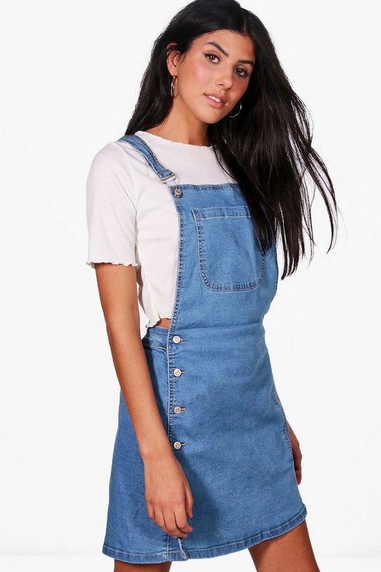 Shelby Side Button Denim Pinafore