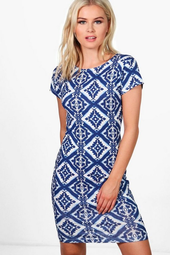 Hanna Printed Cap Sleeve Bodycon Dress