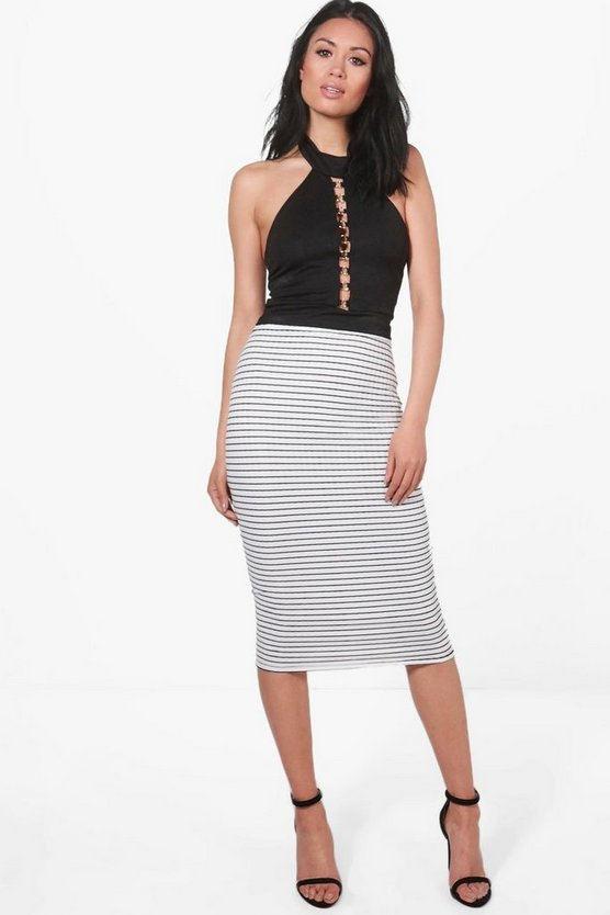 Elodie Textured Stripe Midi Skirt