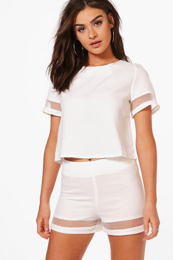 Milly Mesh Insert Tailored Shorts