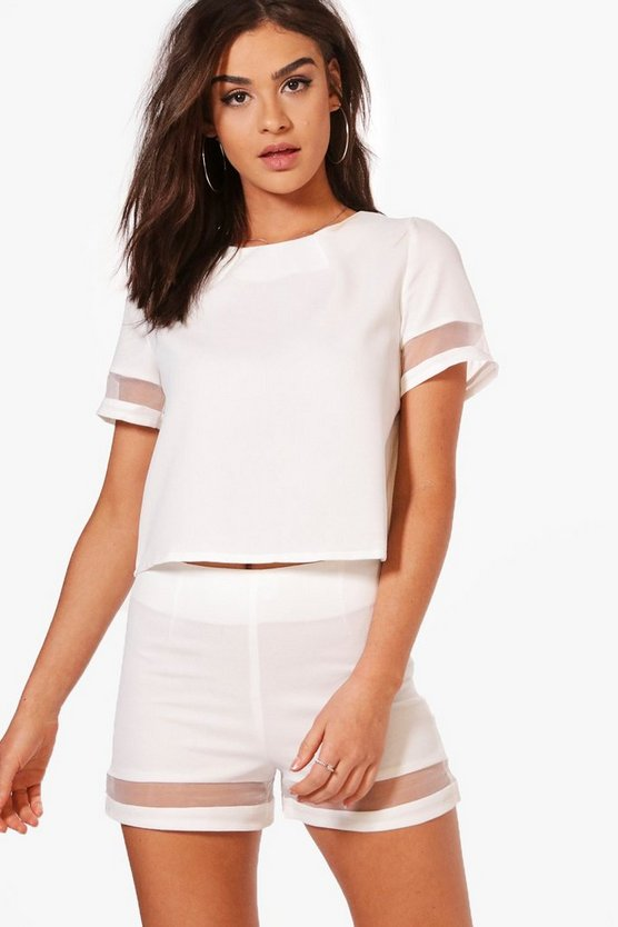 Florence Mesh Insert Boxy Crop Top