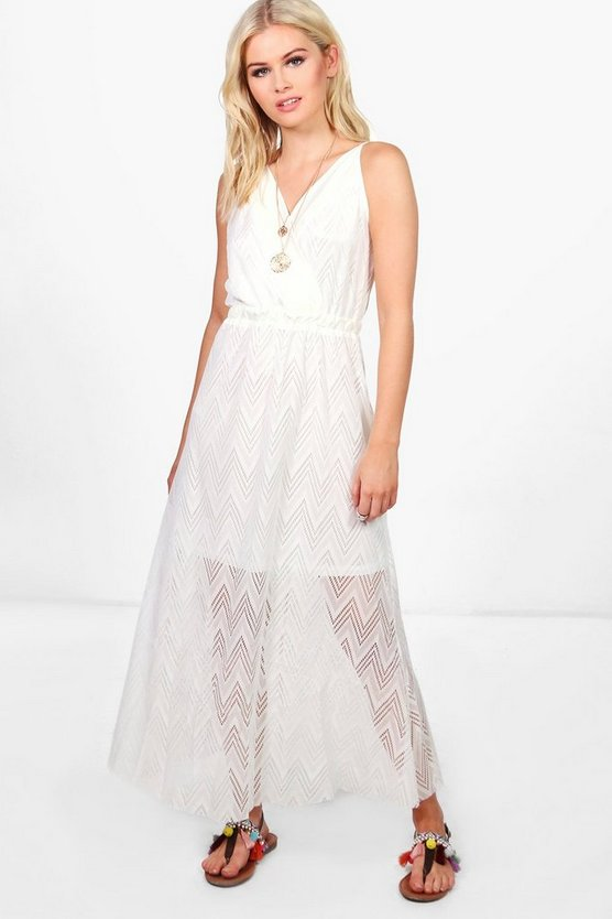 Aria Zig Zag Wrap Front Midi Dress