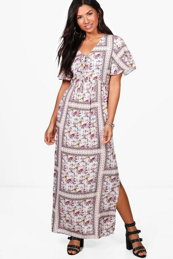 Molly Vintage Floral Lace Up Maxi Dress