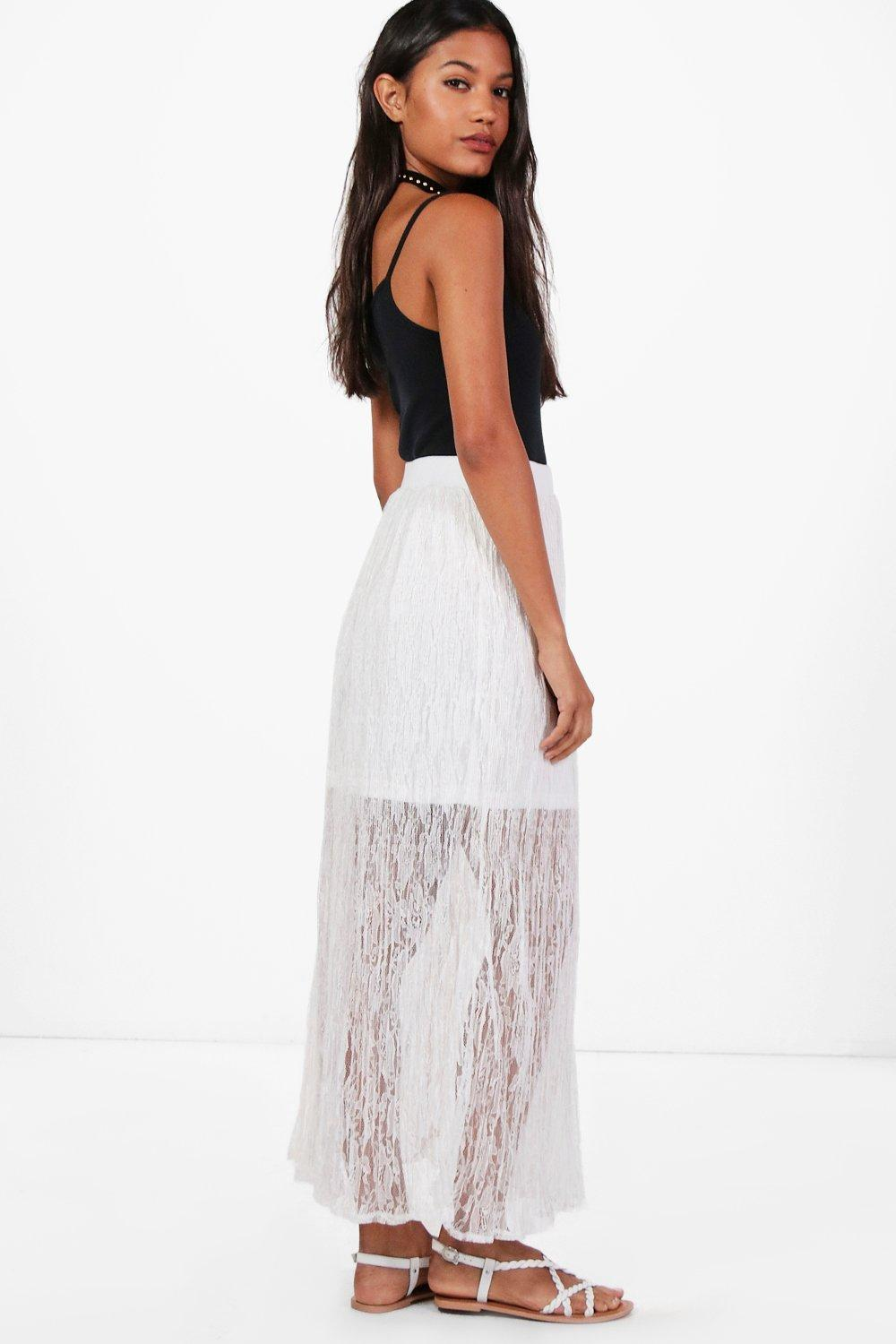 NEW-Boohoo-Womens-Leah-Lace-Maxi-Skirt-in