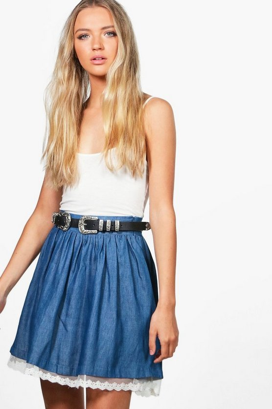 Lola Denim Lace Hem Skater Skirt